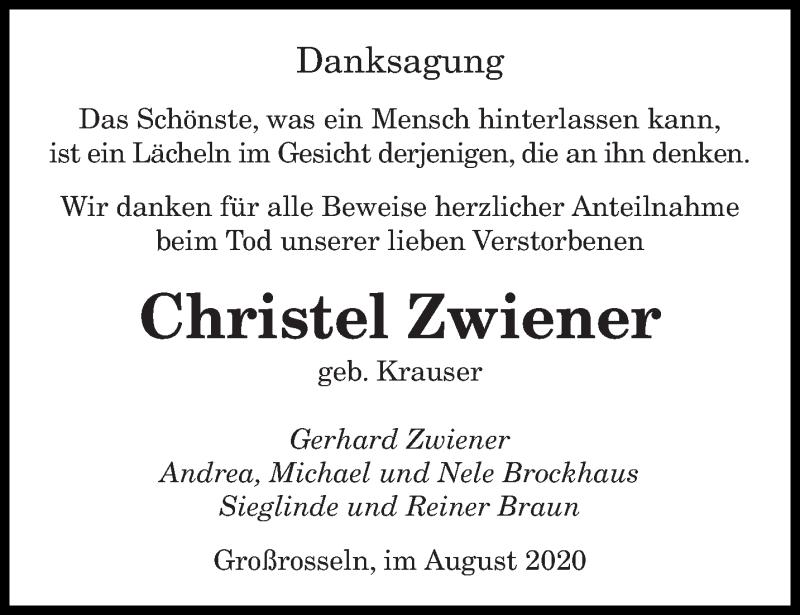 Traueranzeige für Christel Zwiener vom 29.08.2020 aus saarbruecker_zeitung