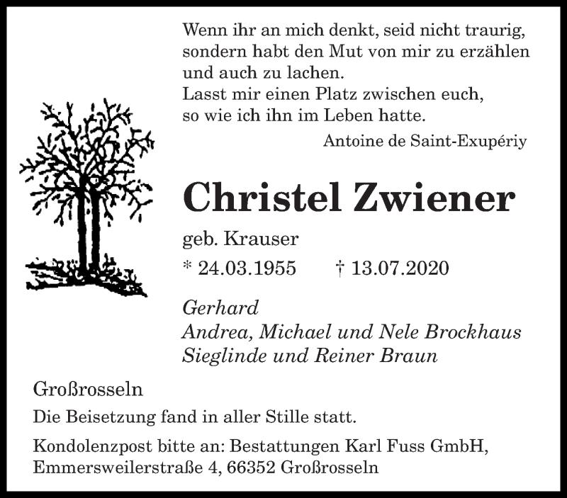 Traueranzeige für Christel Zwiener vom 01.08.2020 aus saarbruecker_zeitung