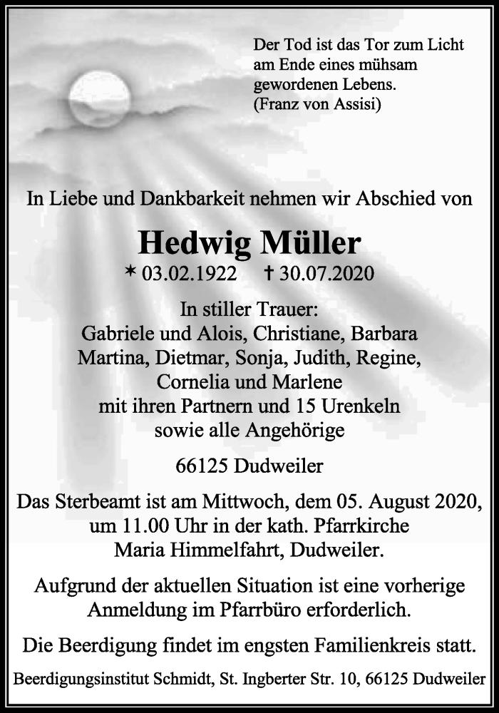 Traueranzeige für Hedwig Müller vom 01.08.2020 aus saarbruecker_zeitung