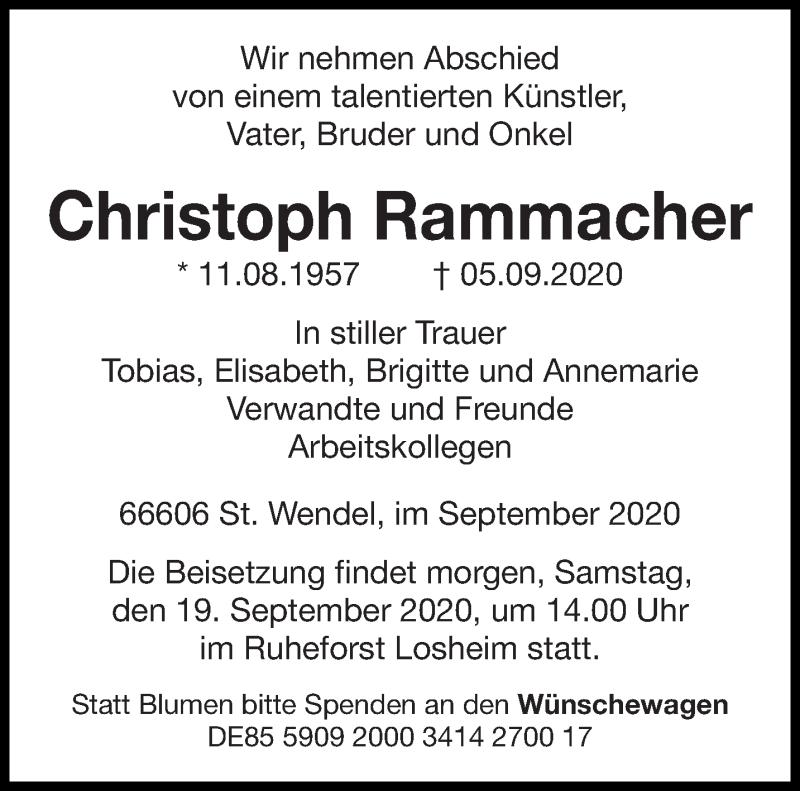 Traueranzeige für Christoph Rammacher vom 18.09.2020 aus saarbruecker_zeitung