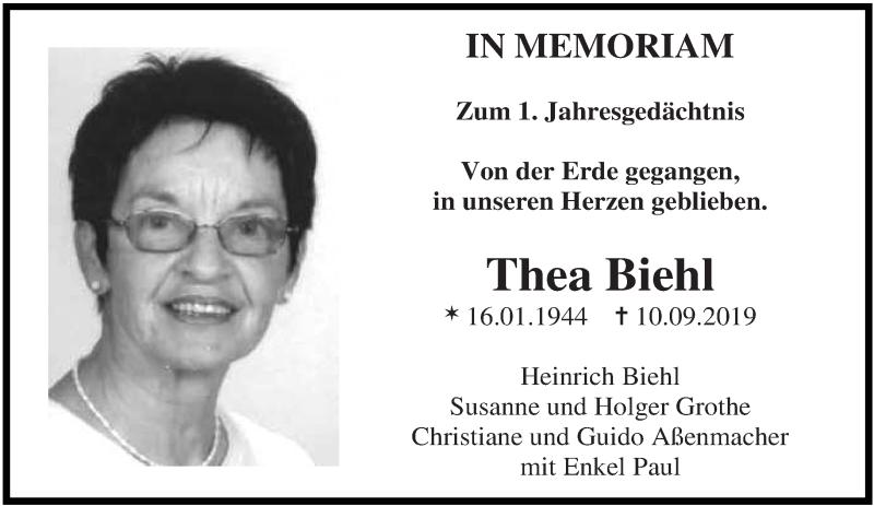 Traueranzeige für Thea Biehl vom 10.09.2020 aus saarbruecker_zeitung