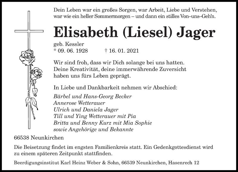 Traueranzeige für Elisabeth Jager vom 25.01.2021 aus saarbruecker_zeitung