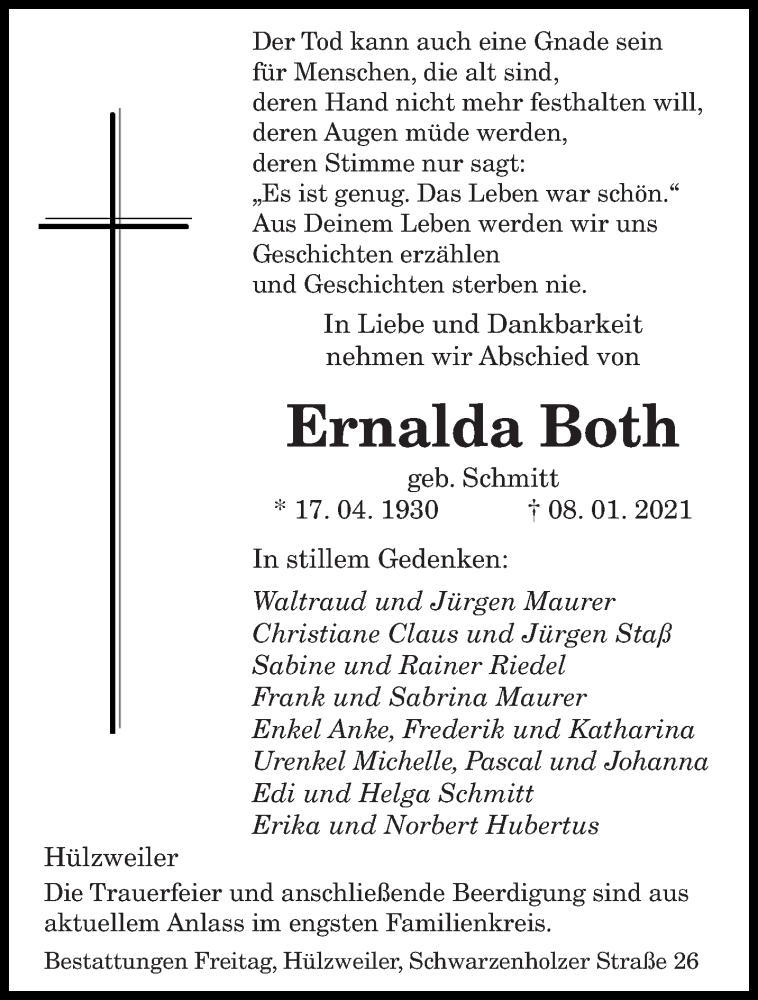 Traueranzeige für Ernalda Both vom 13.01.2021 aus saarbruecker_zeitung