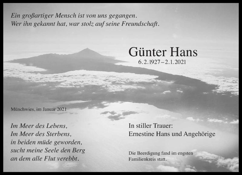 Traueranzeige für Günter Hans vom 16.01.2021 aus saarbruecker_zeitung