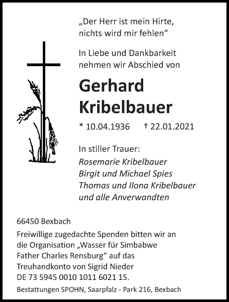 Traueranzeige für Gerhard Kribelbauer vom 30.01.2021 aus saarbruecker_zeitung
