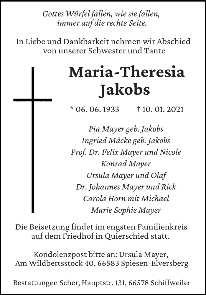 Traueranzeige für Maria-Theresia Jakobs vom 13.01.2021 aus saarbruecker_zeitung