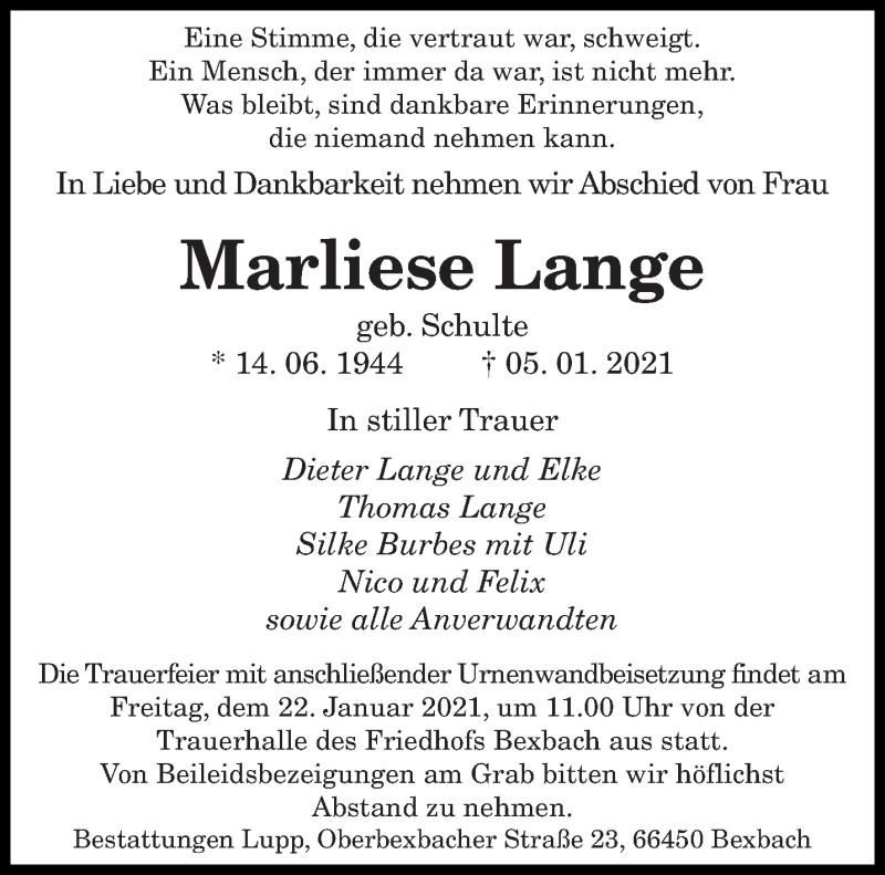 Traueranzeige für Marliese Lange vom 20.01.2021 aus saarbruecker_zeitung