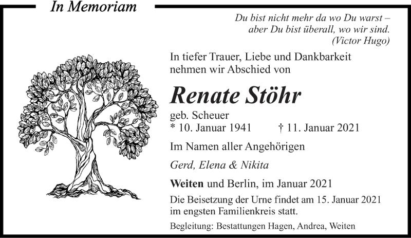 Traueranzeige für Renate Stöhr vom 14.01.2021 aus saarbruecker_zeitung