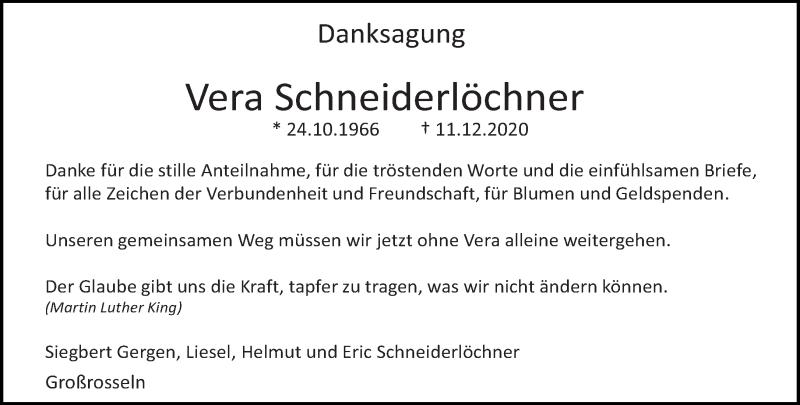 Traueranzeige für Vera Schneiderlöchner vom 13.01.2021 aus saarbruecker_zeitung