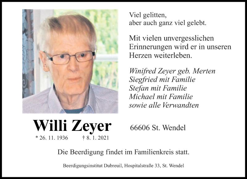 Traueranzeige für Willi Zeyer vom 12.01.2021 aus saarbruecker_zeitung