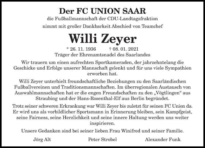 Traueranzeige für Willi Zeyer vom 16.01.2021 aus saarbruecker_zeitung