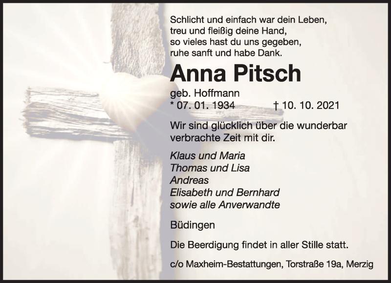 Traueranzeige für Anna Pitsch vom 14.10.2021 aus saarbruecker_zeitung