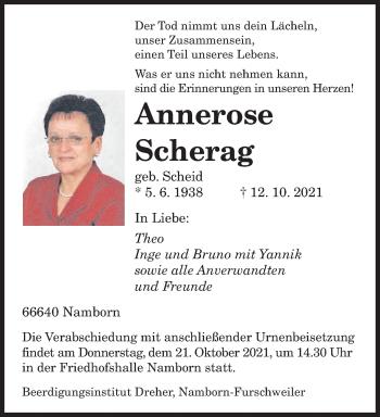 Traueranzeige von Annerose Scherag von saarbruecker_zeitung