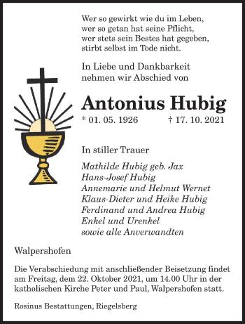 Traueranzeige von Antonius Hubig von saarbruecker_zeitung