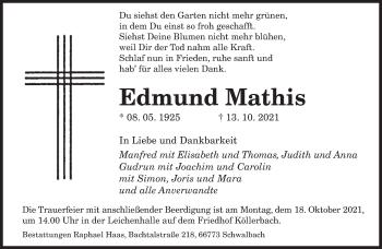 Traueranzeige von Edmund Mathis von saarbruecker_zeitung