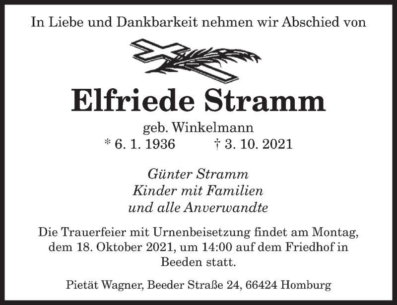 Traueranzeige für Elfriede Stramm vom 14.10.2021 aus saarbruecker_zeitung