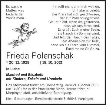 Traueranzeige von Frieda Polenschak von saarbruecker_zeitung