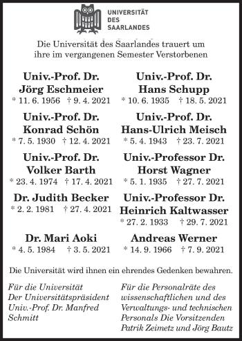 Traueranzeige von Gedenken Universität des Saarlandes von saarbruecker_zeitung