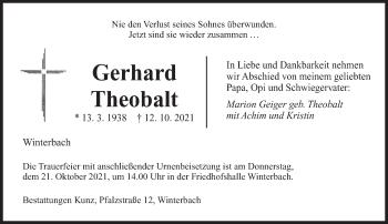 Traueranzeige von Gerhard Theobalt von saarbruecker_zeitung