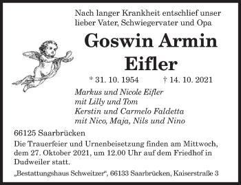 Traueranzeige von Goswin Armin Eifler von saarbruecker_zeitung