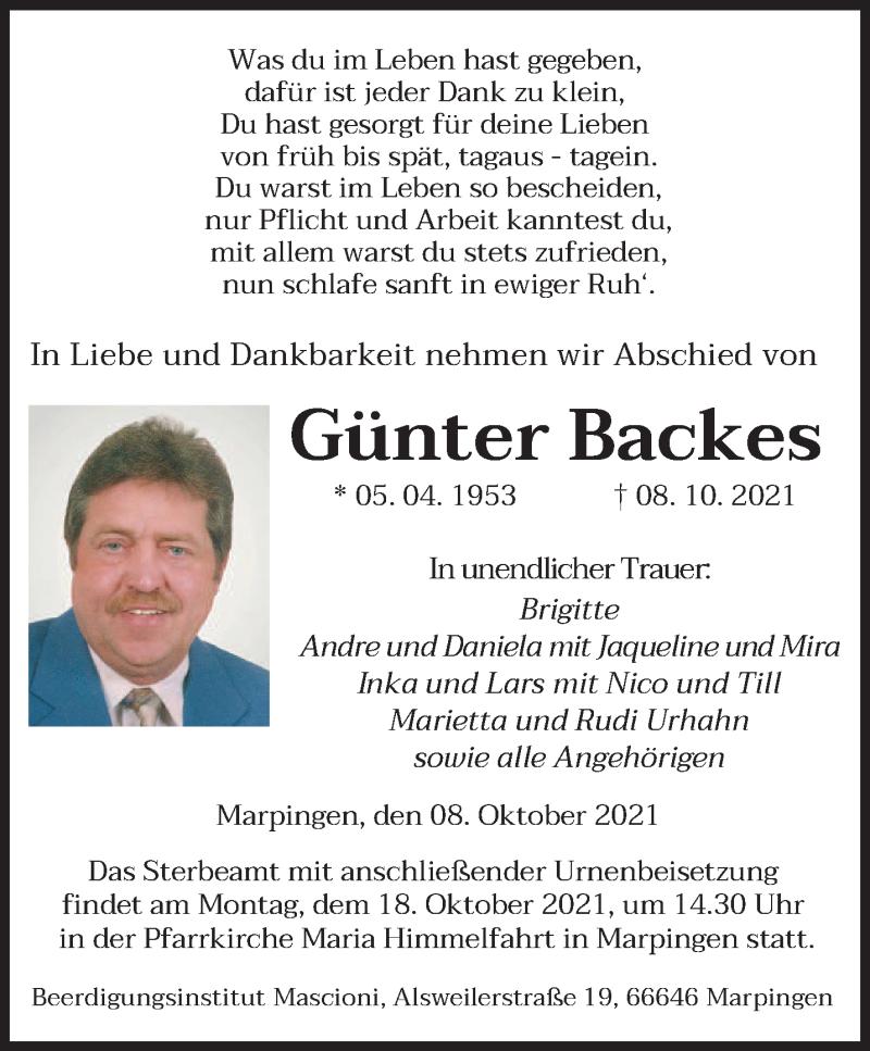 Traueranzeige für Günter Backes vom 14.10.2021 aus saarbruecker_zeitung