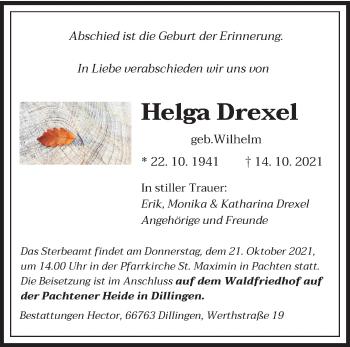 Traueranzeige von Helga Drexel von saarbruecker_zeitung