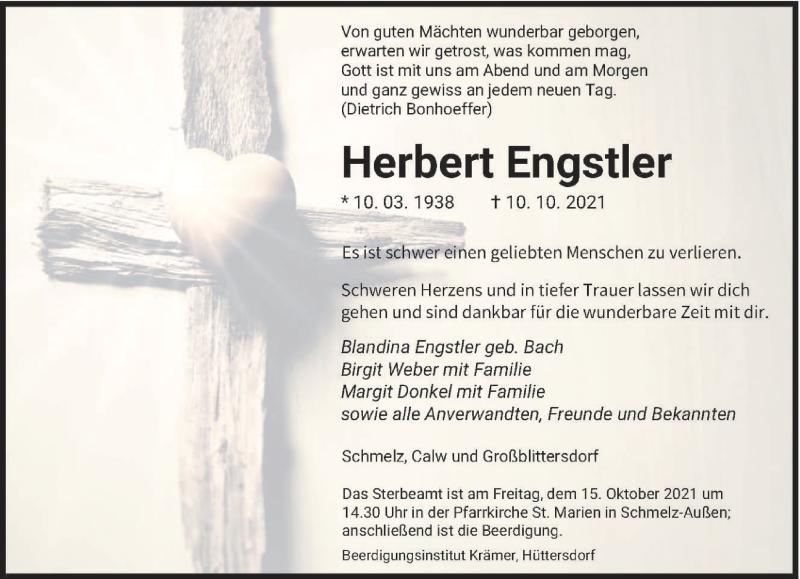 Traueranzeige für Herbert Engstler vom 12.10.2021 aus saarbruecker_zeitung