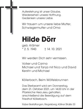 Traueranzeige von Hilde Dörr von saarbruecker_zeitung