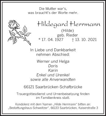 Traueranzeige von Hildegard Herrmann von saarbruecker_zeitung