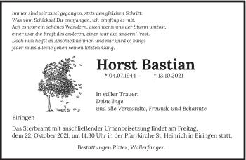 Traueranzeige von Horst Bastian von saarbruecker_zeitung