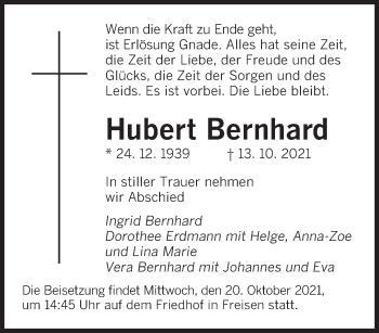 Traueranzeige von Hubert Bernhard von saarbruecker_zeitung
