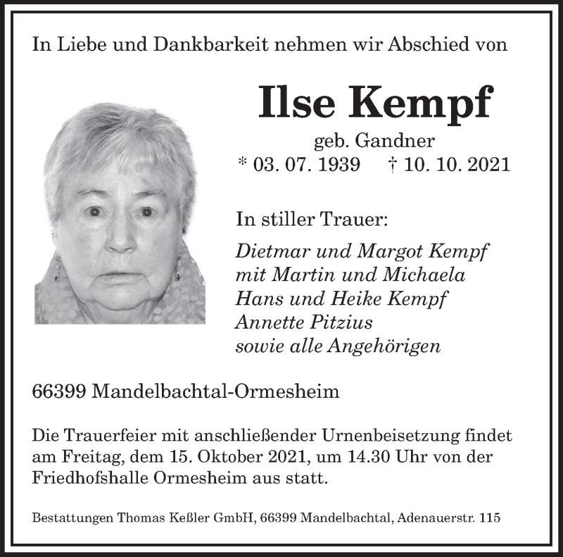 Traueranzeige für Ilse Kempf vom 12.10.2021 aus saarbruecker_zeitung
