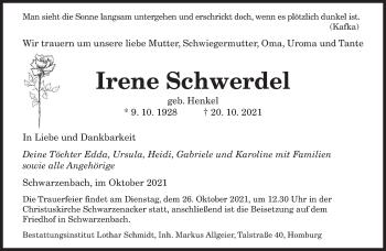 Traueranzeige von Irene Schwerdel von saarbruecker_zeitung