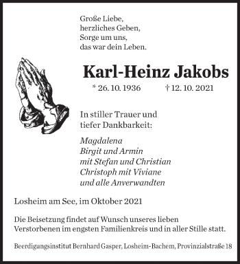 Traueranzeige von Karl-Heinz Jakobs von saarbruecker_zeitung