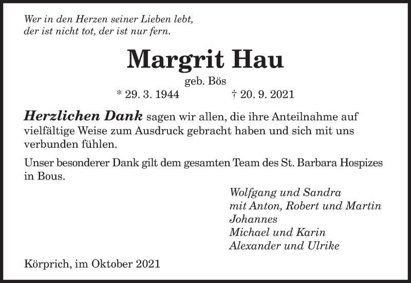 Traueranzeige für Margrit Hau vom 16.10.2021 aus saarbruecker_zeitung