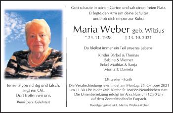 Traueranzeige von Maria Weber von saarbruecker_zeitung