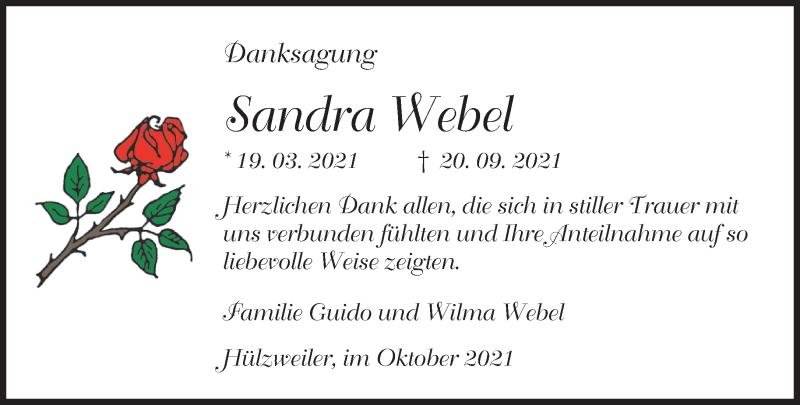 Traueranzeige für Sandra Webel vom 09.10.2021 aus saarbruecker_zeitung
