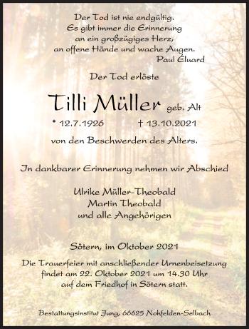 Traueranzeige von Tilli Müller von saarbruecker_zeitung