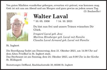 Traueranzeige von Walter Laval von saarbruecker_zeitung