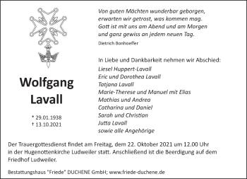 Traueranzeige von Wolfgang Lavall von saarbruecker_zeitung