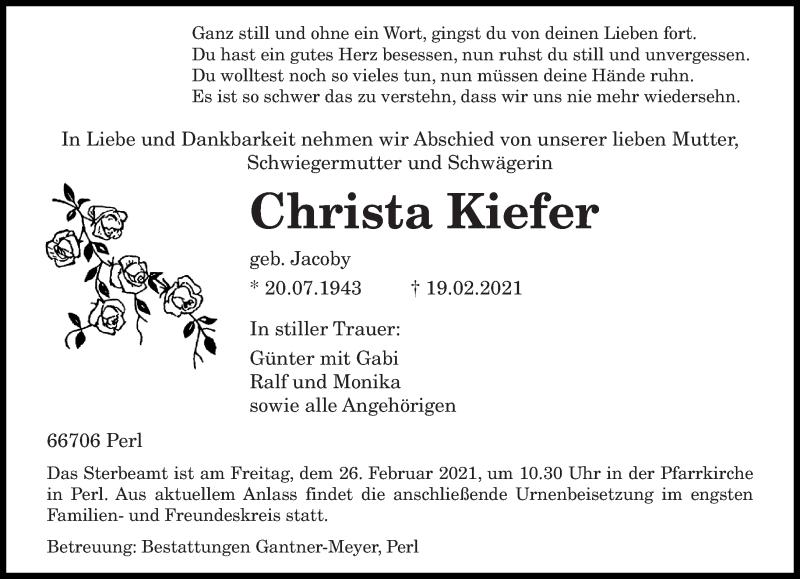 Traueranzeige für Christa Kiefer vom 22.02.2021 aus saarbruecker_zeitung