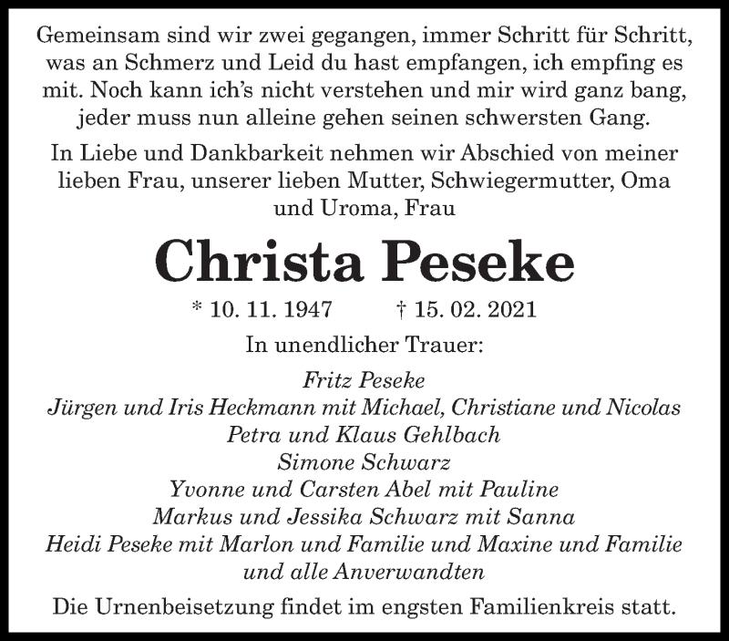 Traueranzeige für Christa Peseke vom 22.02.2021 aus saarbruecker_zeitung