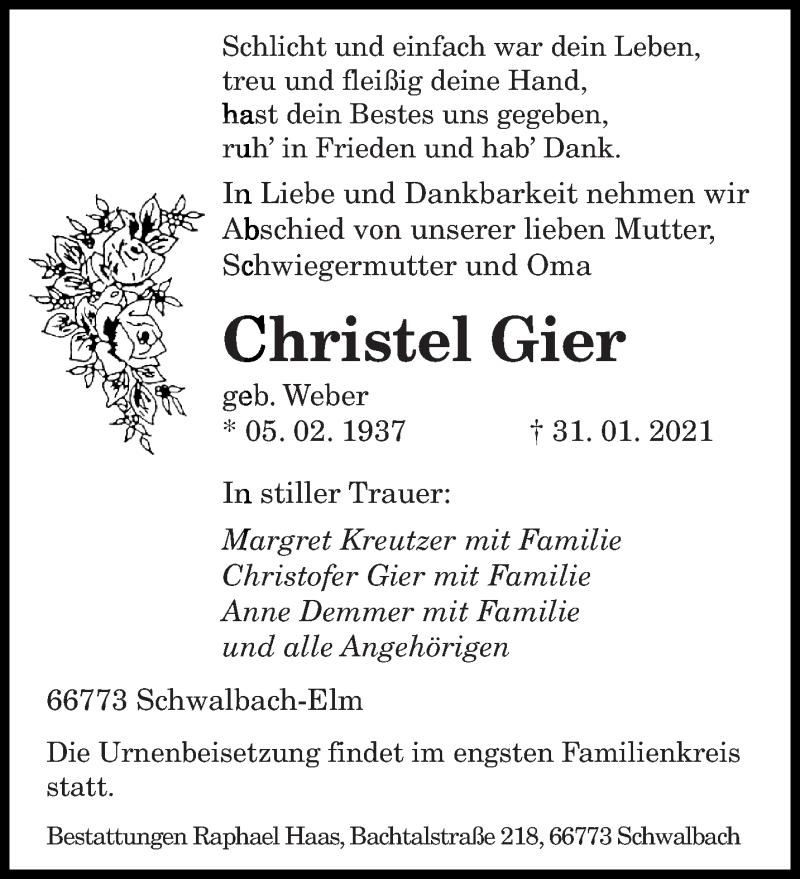 Traueranzeige für Christel Gier vom 06.02.2021 aus saarbruecker_zeitung