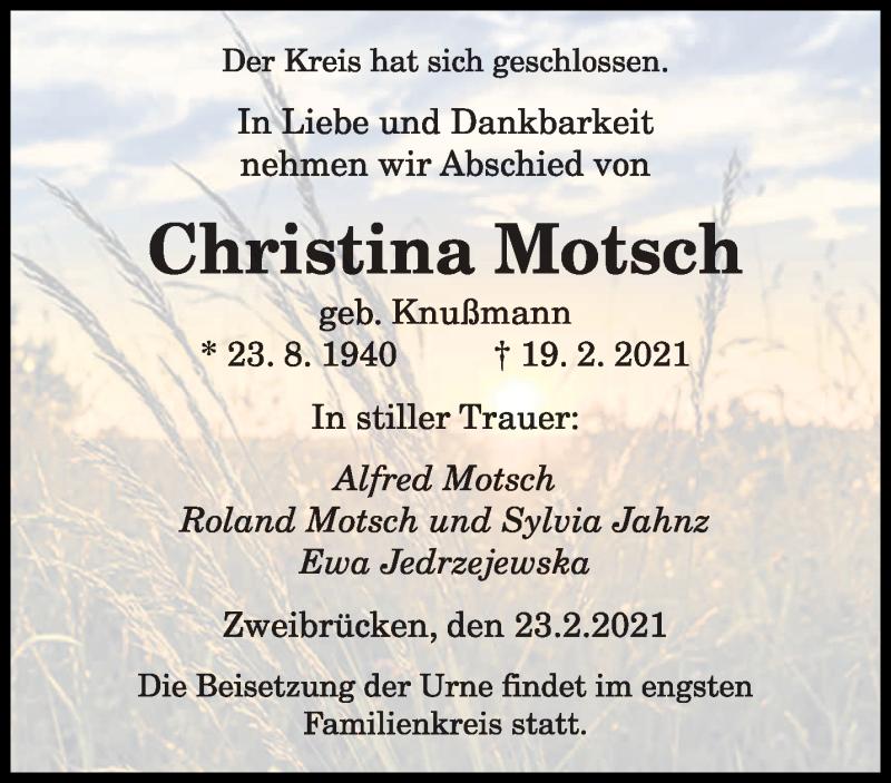 Traueranzeige für Christina Motsch vom 23.02.2021 aus saarbruecker_zeitung