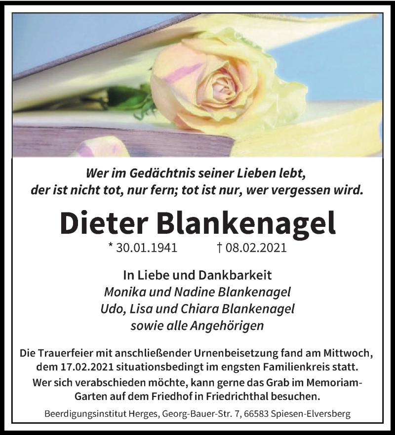 Traueranzeige für Dieter Blankenagel vom 19.02.2021 aus saarbruecker_zeitung