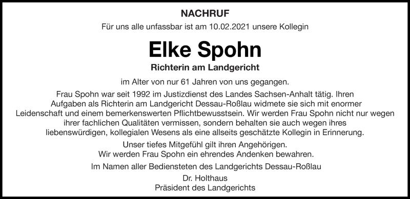 Traueranzeige für Elke Spohn vom 22.02.2021 aus saarbruecker_zeitung