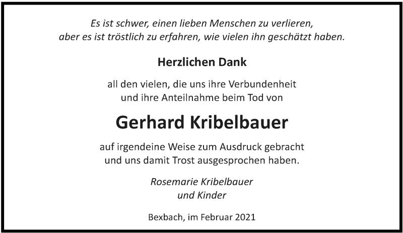 Traueranzeige für Gerhard Kribelbauer vom 22.02.2021 aus saarbruecker_zeitung
