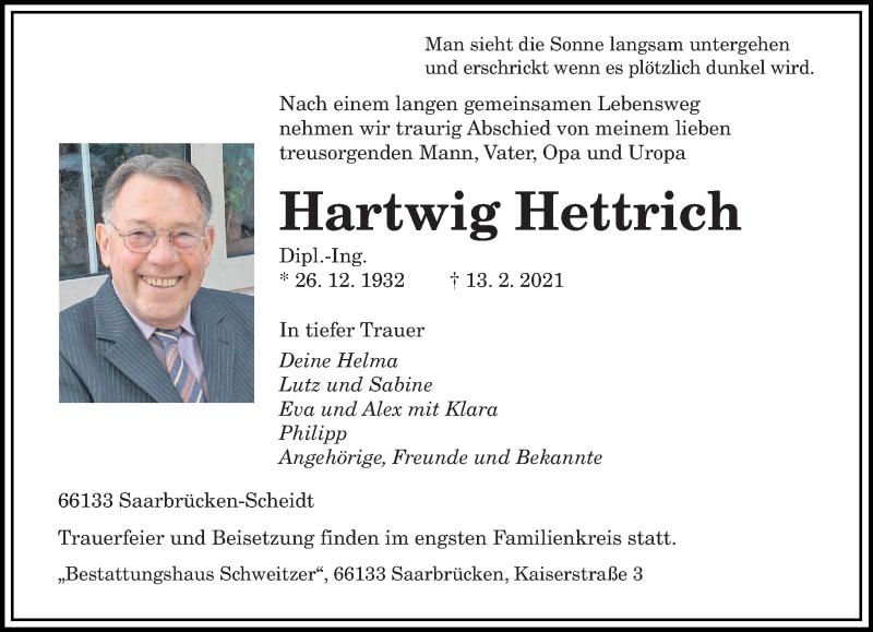 Traueranzeige für Hartwig Hettrich vom 20.02.2021 aus saarbruecker_zeitung
