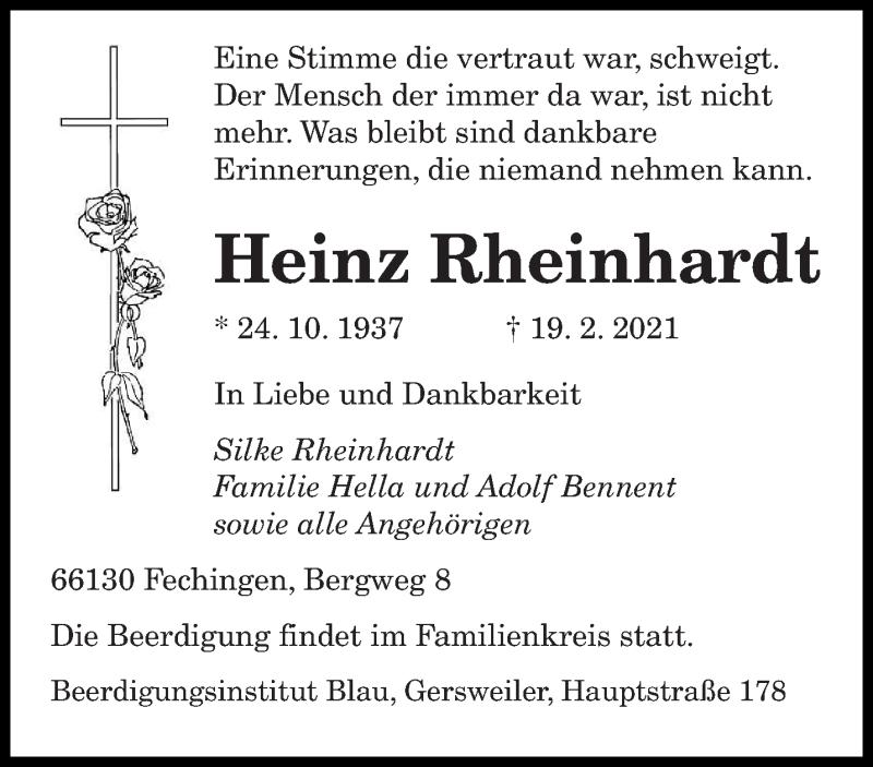 Traueranzeige für Heinz Rheinhardt vom 23.02.2021 aus saarbruecker_zeitung