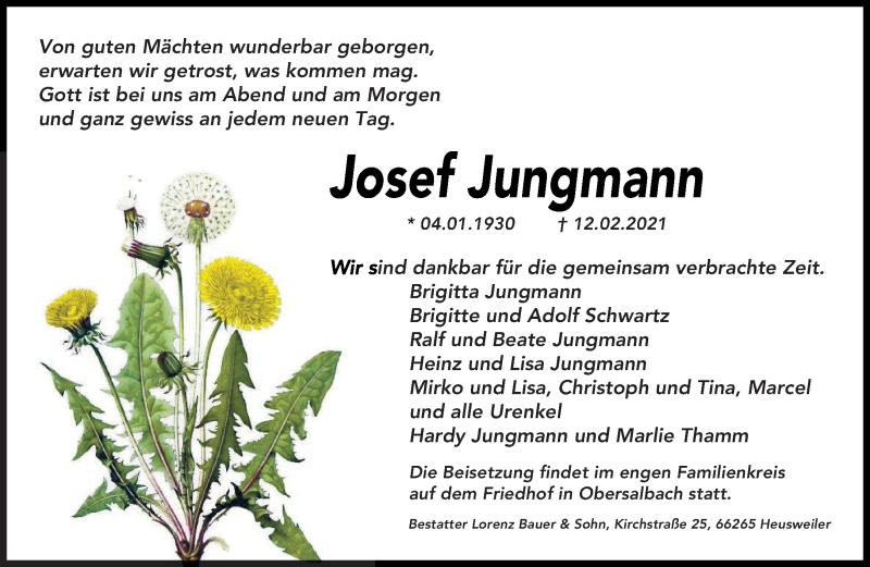 Traueranzeige für Josef Jungmann vom 22.02.2021 aus saarbruecker_zeitung